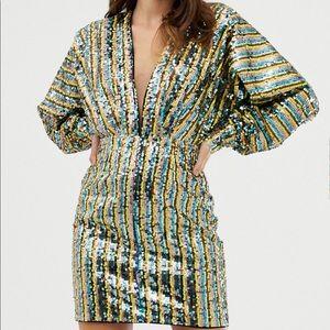 ASOS stripe sequin kimono balloon sleeve dress